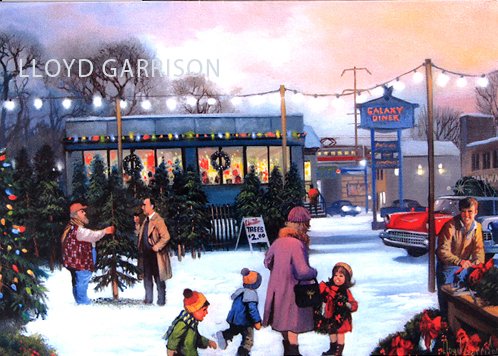 Lloyd Garrison has become a part of the Christmas tradition for many Rahway residents with his unique greeting cards, which capture local holiday memories. His latest hometown holiday creation features educator John A. Kuhlman, depicted buying a Christmas tree from a St. Georges Avenue vendor during the booming post-war era.